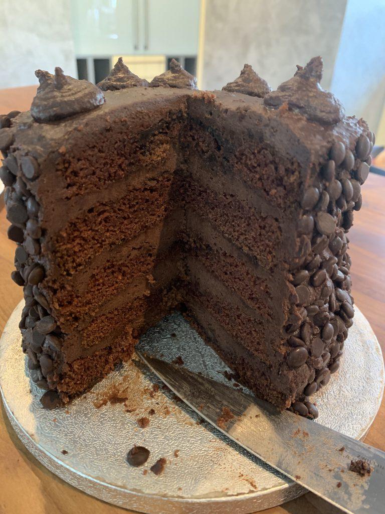 Black-out cake oder Linda's cake - Schokoschichten