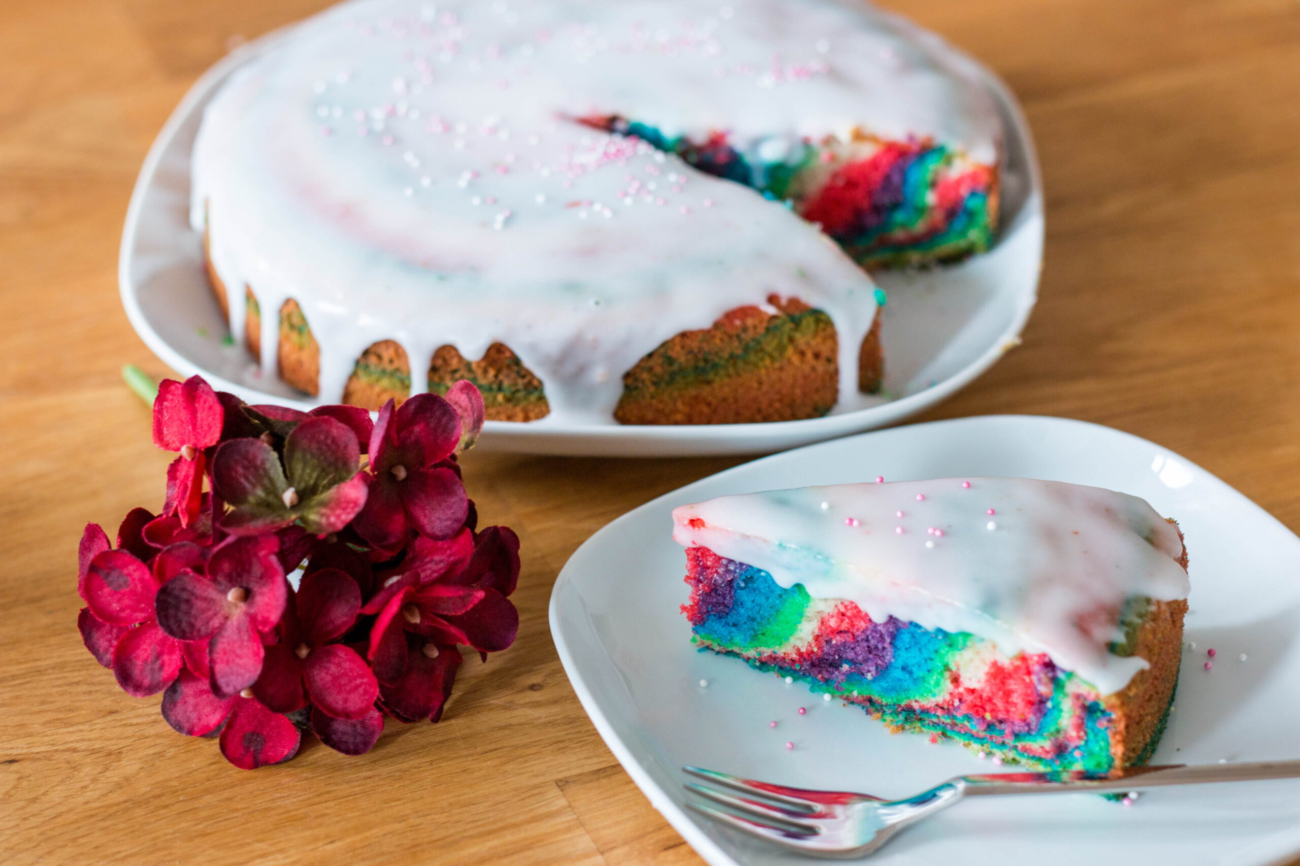 Regenbogen Zebrakuchen